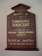 Memorial board for Emmaline 'Granny' Bodicoat, the district midwife and one of the original subscribers for erection of the Wongong hall. Originally hung in the hall, but now in History House Museum, Armadale.