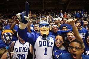 Student section - Duke's Cameron Crazies, one of the most famous student sections in college basketball.