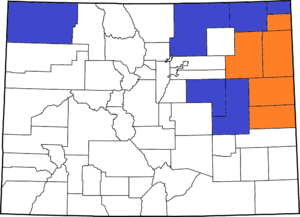 Northern Colorado - Eleven counties asked voters if they supported seceding from Colorado. Counties shown in orange voted in favor of secession; counties shown in blue voted against.