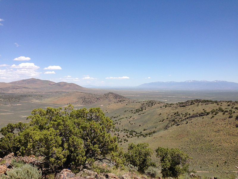 """File:2014-06-13 12 21 11 View east-northeast from the summit of """"E"""" Mountain in the Elko Hills of Nevada.JPG"""