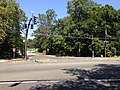 2014-08-27 12 49 20 Traffic signal at the intersection of Parkside Avenue (Mercer County Route 636), Bellevue Avenue and the entrance to Cadwalder Park in Trenton, New Jersey.JPG