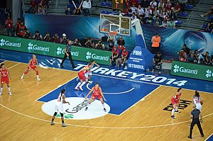 Serbia women's national basketball team - Serbia (red lit) vs Turkey at the 2014 FIBA World Championship for Women.