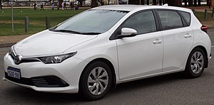 Family car - A Toyota Corolla, classified as a small family car.