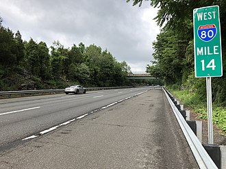 Frelinghuysen Township, New Jersey - View west along I-80 in Frelinghuysen Township