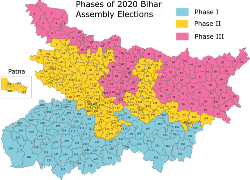2020 Bihar voting phases.png