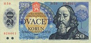 Banknotes of the Czechoslovak koruna (1953) - 20 Kčs banknote, 1988, obverse