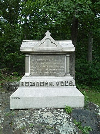20th Connecticut Infantry Regiment - Monument to the regiment at Gettysburg