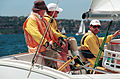 231000 - Sailing sonar Jamie Dunross Noel Robins Graeme Martin action 11 - 3b - 2000 Sydney race photo.jpg