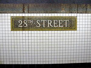 28th Street (IRT Broadway–Seventh Avenue Line) - Name tablet