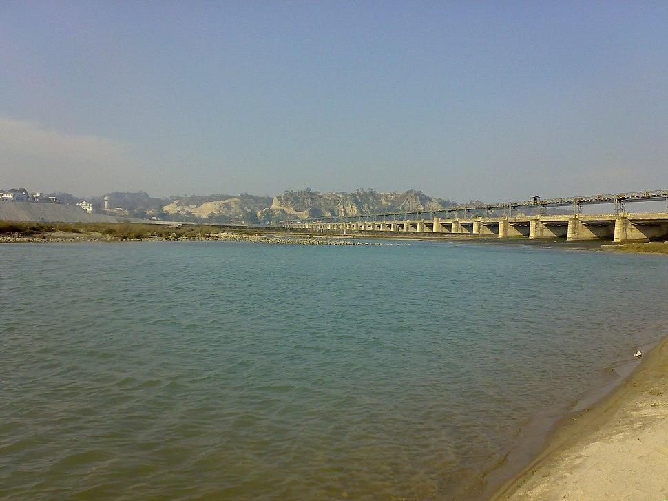 2 River Satluj Sutlej Ropar Dam and Bridge in Rupnagar Punjab India