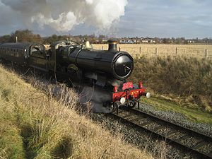 Great Central Railway (Nottingham) - City of Truro, leaves 50 steps junction with a December 2010 Santa Special Service
