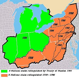 "Iroquois - Map showing dates Iroquois claims relinquished, 1701-1796. Note: In the 1701 Nanfan Treaty, the Five Nations abandoned their nominal claims to ""beaver hunting"" lands north of the Ohio in favor of England; however, these areas were still de facto controlled by other tribes allied with France."