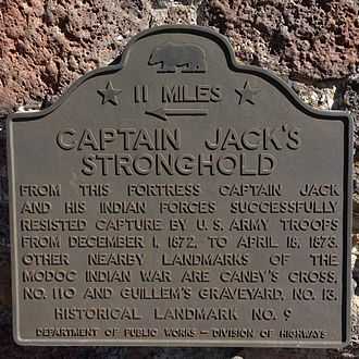Captain Jack's Stronghold - Image: 9Stronghold Plaque