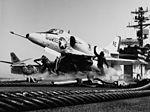A-4C Skyhawk of VA-64 on catapult of USS America (CVA-66) in 1965.jpg