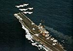 A-4E Skyhawks of VA-45 in flight over USS Intrepid (CVS-11) c1973.jpg