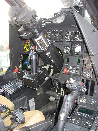 Agusta A129 Mangusta - The gunner's position in the cockpit of an A129. Note the weapons scope and targeting controls present