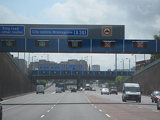 A38(M) motorway - The Aston Expressway approaching Birmingham City Centre