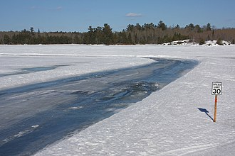 Rainy Lake - Ice road in April 2013