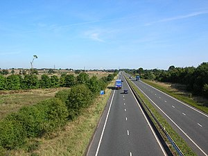 A64 road - View over the Vale of York