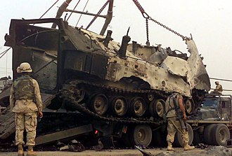 Battle of Nasiriyah - A USMC Assault Amphibious Vehicle destroyed at Nasiriyah, Iraq, in a mantainance area. 11 April 2003.