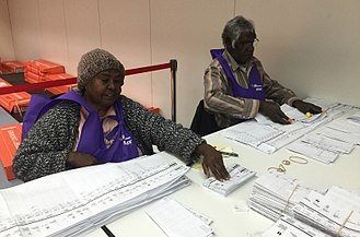Electoral system of Australia - Polling officials counting Senate ballot papers