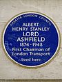 ALBERT HENRY STANLEY LORD ASHFIELD 1874-1948 First Chairman of London Transport lived here - blue plaque.JPG
