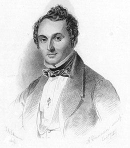 Albert Lortzing (um 1835, Stich nach Johann Heinrich Schramm).Lortzings Unterschrift: (Quelle: Wikimedia)