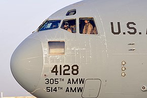 A U.S. Air Force C-17 Globemaster III aircraft, carrying Vice President Joe Biden, arrives at Sather Air Base, Iraq, Aug. 30, 2010 100830-F-MG591-007.jpg