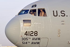 514th Air Mobility Wing - A wing C-17 Globemaster III aircraft carrying Vice President Joe Biden arrives at Sather Air Base, Iraq
