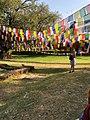 A girl enjoying her Dashai ,Tihar Vacation by visting Lumbini Temple.jpg