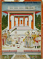 A maharaja playing Holi with women and musicians near a garden pavilion (6125089600).jpg