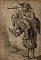 A man with a telescope riding on another man's back Wellcome V0049551.jpg
