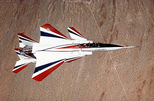 A one-of-a-kind F-15 Eagle called ACTIVE (Advanced Control Technology for integrated Vehicles) in flight over the desert (viewed from above the aircraft), will start test flights in September 1994 DF-ST-94-01563.jpg
