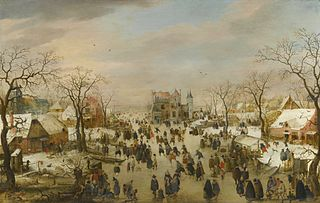 A panoramic Winter landscape with a multitude of figures on a frozen river
