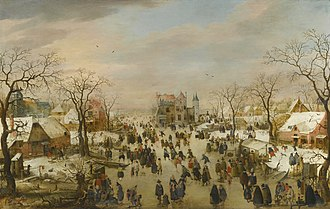 Winter Landscape with Skaters - Image: A panoramic Winter landscape