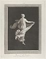 A partly naked bacchante seen from behind, facing right and holding an oval dish in her left hand, her drapery in her right, set against a black background inside a rectangular frame MET DP842053.jpg