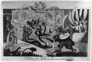 Royal Academy of Arts - Satirical drawing of Sir William Chambers, one of the founders, trying to slay the 8-headed hydra of the Incorporated Society of Artists