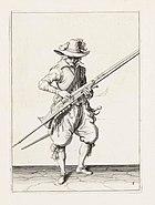 Aanwijzing 8 voor het hanteren van het musket - V lont opdruckt (Jacob de Gheyn, 1607)