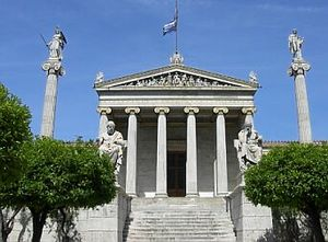 Classical Athens - The modern National Academy in Athens, with Apollo and Athena on their columns, and Socrates and Plato seated in front.