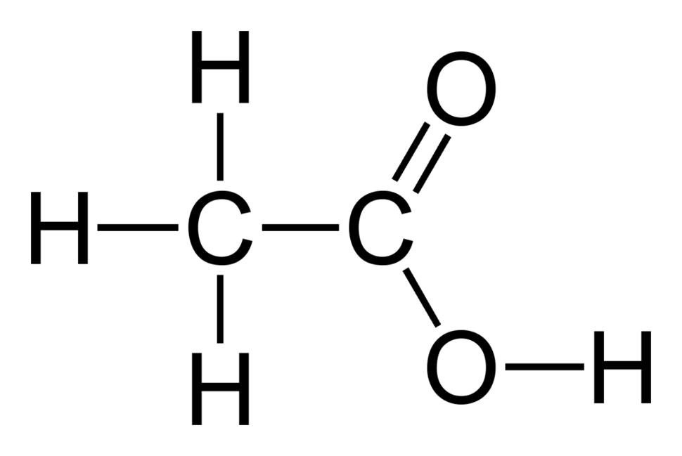 Skeletal formula of acetic acid with all explicit hydogens added