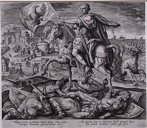 Daniel 8 - Julius Caesar identified as the king in Daniel 8:23-25, depicted in armour and with a laurel wreath, on horseback, bearing a standard depicting an eagle; the horse trampling three kings with standards depicting a lion, a ram and a goat. Engraving by Adriaen Collaert, Plate 4 of Four Illustrious Rulers of Antiquity.