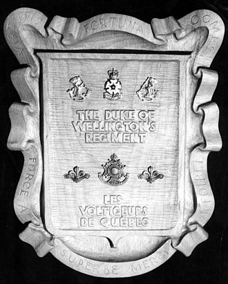 Les Voltigeurs de Québec - Historical plaque showing regimental alliance to The DWR