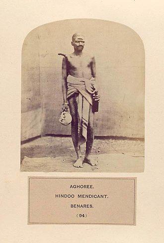 Aghori - An Aghori with a human skull, c. 1875