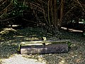 Agricultural roller in pine chippings at Hatfield Broad Oak Essex England.jpg