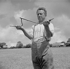 Dowsing - 1942: George Casely uses a hazel twig to attempt to find water on the land around his Devon farm