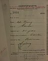 Ah Hong Auckland Chinese poll tax certificate butts Certificate issued at Auckland.jpg