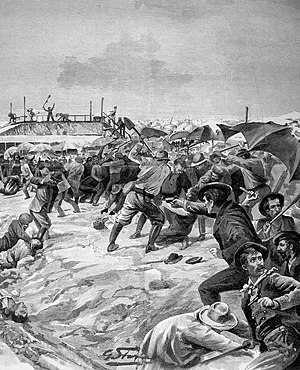 Massacre of Italians at Aigues-Mortes - Attack on Italian workers by the salt workers of Aigues-Mortes (G. Stern, 1893)