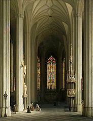 Interior of a Gothic church.