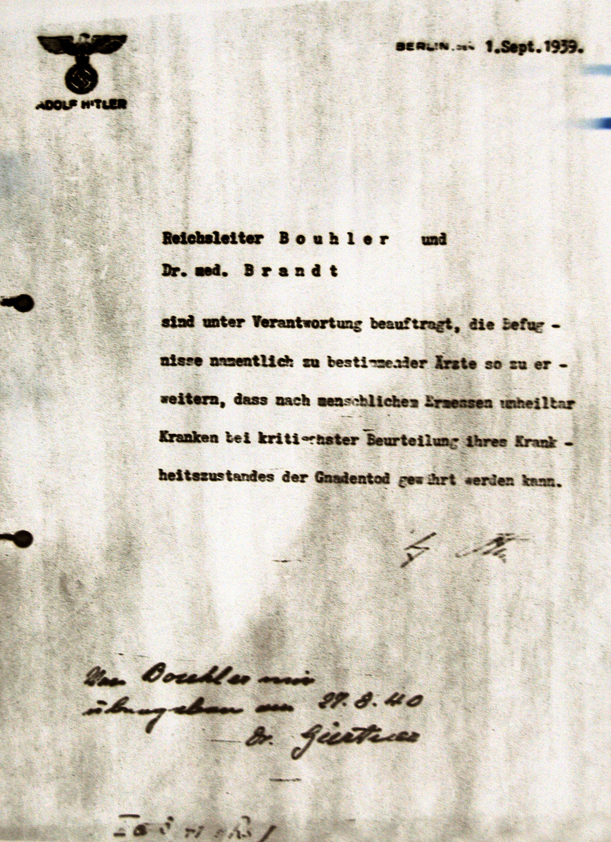 an introduction to the history of the nazi euthanasia program The german t4 euthanasia program is nearly hidden within history, an event   starting at the conclusion of world war i—when scientists from.