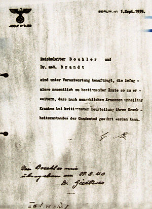 Adolf Hitler's directives - Hitler's order for the Action T4